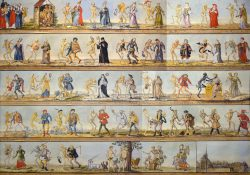 Historisches_Museum_Basel_Totentanz (Quelle: Von Wikimedia user Vassil, Creative Commons CC0 1.0 Universal Public Domain Dedication. - Panorama collage of four detailed images out of Wikimedia Commons: File:Historisches Museum Basel Totentanz 25102013 A.jpg, B, C and D, CC0, https://commons.wikimedia.org/w/index.php?curid=40685562)
